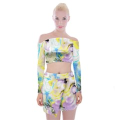 Watercolour Watercolor Paint Ink Off Shoulder Top With Mini Skirt Set