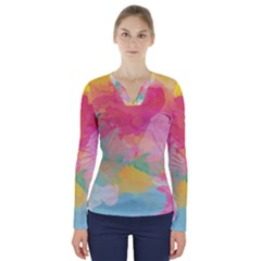 Watercolour Gradient V Neck Long Sleeve Top