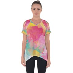 Watercolour Gradient Cut Out Side Drop Tee