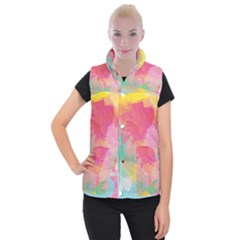 Watercolour Gradient Women s Button Up Puffer Vest
