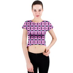 Pattern Pink Squares Square Texture Crew Neck Crop Top