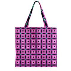 Pattern Pink Squares Square Texture Zipper Grocery Tote Bag by BangZart