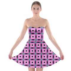 Pattern Pink Squares Square Texture Strapless Bra Top Dress