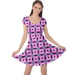 Pattern Pink Squares Square Texture Cap Sleeve Dress