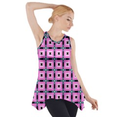 Pattern Pink Squares Square Texture Side Drop Tank Tunic