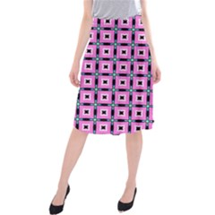 Pattern Pink Squares Square Texture Midi Beach Skirt