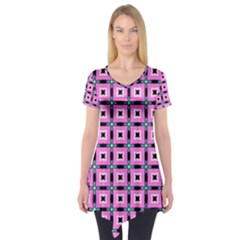 Pattern Pink Squares Square Texture Short Sleeve Tunic