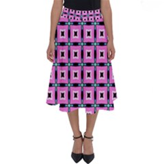 Pattern Pink Squares Square Texture Perfect Length Midi Skirt