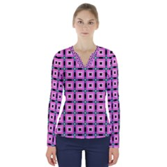 Pattern Pink Squares Square Texture V Neck Long Sleeve Top