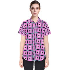 Pattern Pink Squares Square Texture Women s Short Sleeve Shirt