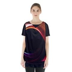 Grid Bent Vibration Ease Bend Skirt Hem Sports Top by BangZart
