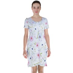 Floral Pattern Background Short Sleeve Nightdress