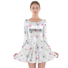 Floral Pattern Background Long Sleeve Skater Dress
