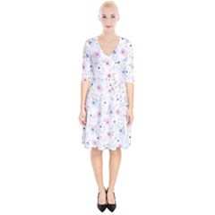 Floral Pattern Background Wrap Up Cocktail Dress