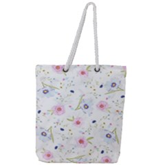 Floral Pattern Background Full Print Rope Handle Tote (large)