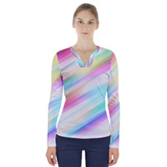 Background Course Abstract Pattern V Neck Long Sleeve Top