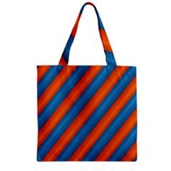 Diagonal Stripes Striped Lines Zipper Grocery Tote Bag by BangZart