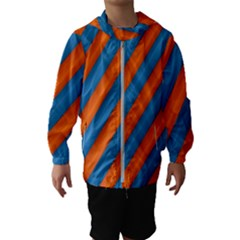 Diagonal Stripes Striped Lines Hooded Wind Breaker (kids)
