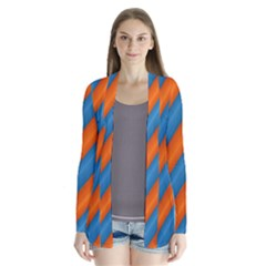 Diagonal Stripes Striped Lines Drape Collar Cardigan