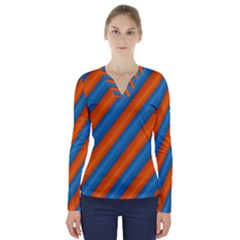 Diagonal Stripes Striped Lines V Neck Long Sleeve Top