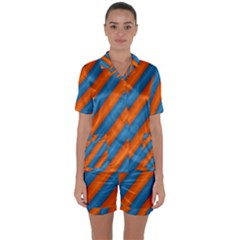 Diagonal Stripes Striped Lines Satin Short Sleeve Pyjamas Set