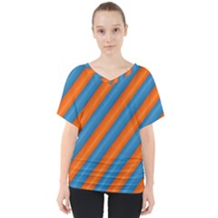 Diagonal Stripes Striped Lines V Neck Dolman Drape Top