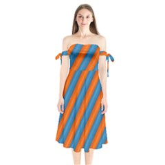 Diagonal Stripes Striped Lines Shoulder Tie Bardot Midi Dress
