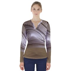 Staircase Berlin Architecture V Neck Long Sleeve Top