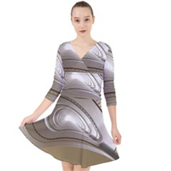 Staircase Berlin Architecture Quarter Sleeve Front Wrap Dress