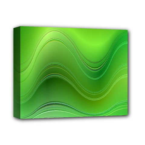 Green Wave Background Abstract Deluxe Canvas 14  X 11