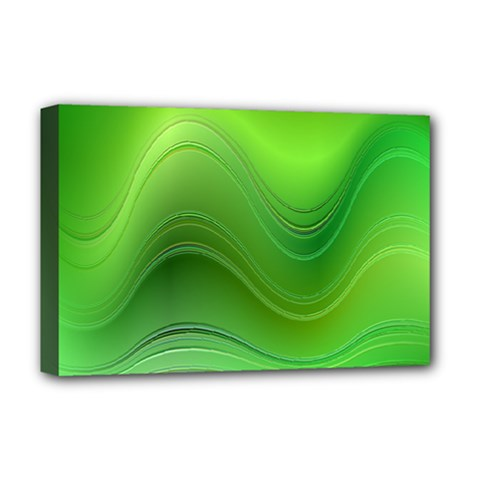 Green Wave Background Abstract Deluxe Canvas 18  X 12   by BangZart