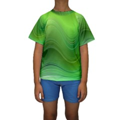 Green Wave Background Abstract Kids  Short Sleeve Swimwear