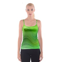 Green Wave Background Abstract Spaghetti Strap Top