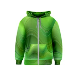 Green Wave Background Abstract Kids  Zipper Hoodie