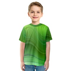 Green Wave Background Abstract Kids  Sport Mesh Tee