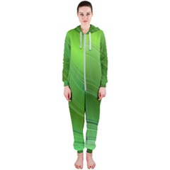Green Wave Background Abstract Hooded Jumpsuit (ladies)