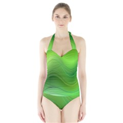 Green Wave Background Abstract Halter Swimsuit