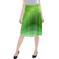 Green Wave Background Abstract Midi Beach Skirt