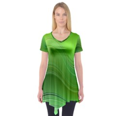 Green Wave Background Abstract Short Sleeve Tunic