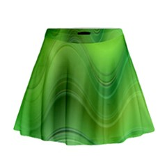 Green Wave Background Abstract Mini Flare Skirt