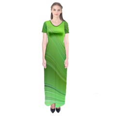 Green Wave Background Abstract Short Sleeve Maxi Dress