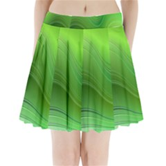 Green Wave Background Abstract Pleated Mini Skirt
