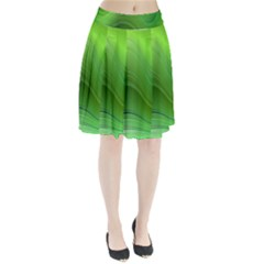 Green Wave Background Abstract Pleated Skirt