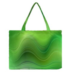 Green Wave Background Abstract Zipper Medium Tote Bag