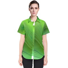 Green Wave Background Abstract Women s Short Sleeve Shirt