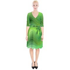 Green Wave Background Abstract Wrap Up Cocktail Dress