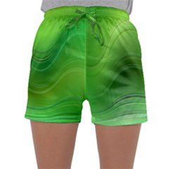 Green Wave Background Abstract Sleepwear Shorts