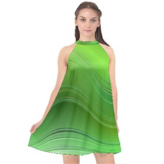Green Wave Background Abstract Halter Neckline Chiffon Dress