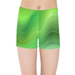 Green Wave Background Abstract Kids Sports Shorts