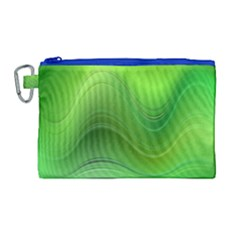 Green Wave Background Abstract Canvas Cosmetic Bag (large)
